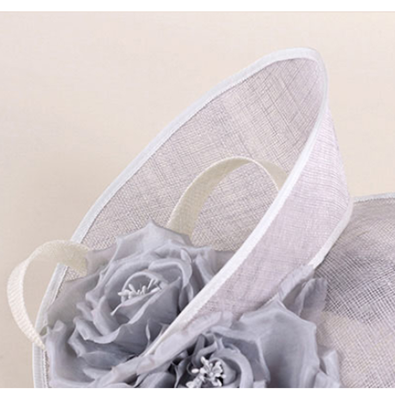 Image 5 - FS Elegant Royal Woman Large Brim Sinamay Wedding Dress Hat Flowers Gray Linen Summer Fedoras Dress Party Kentucky Derby Hats-in Women's Fedoras from Apparel Accessories