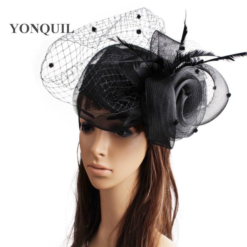 69fe51e8db397 قماش قطني fascinator أغطية الرأس ريشة حجاب الزفاف حزب تظهر إكسسوارات الشعر  قبعات كوكتيل القبعات الكلاسيكية اللون MYQ110