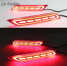 Car Flashing 2pcs For Honda City 2017 2018 LED DRL Rear Bumper tail light fog lamp Brake Reflector Fog Warning lamp car-styling