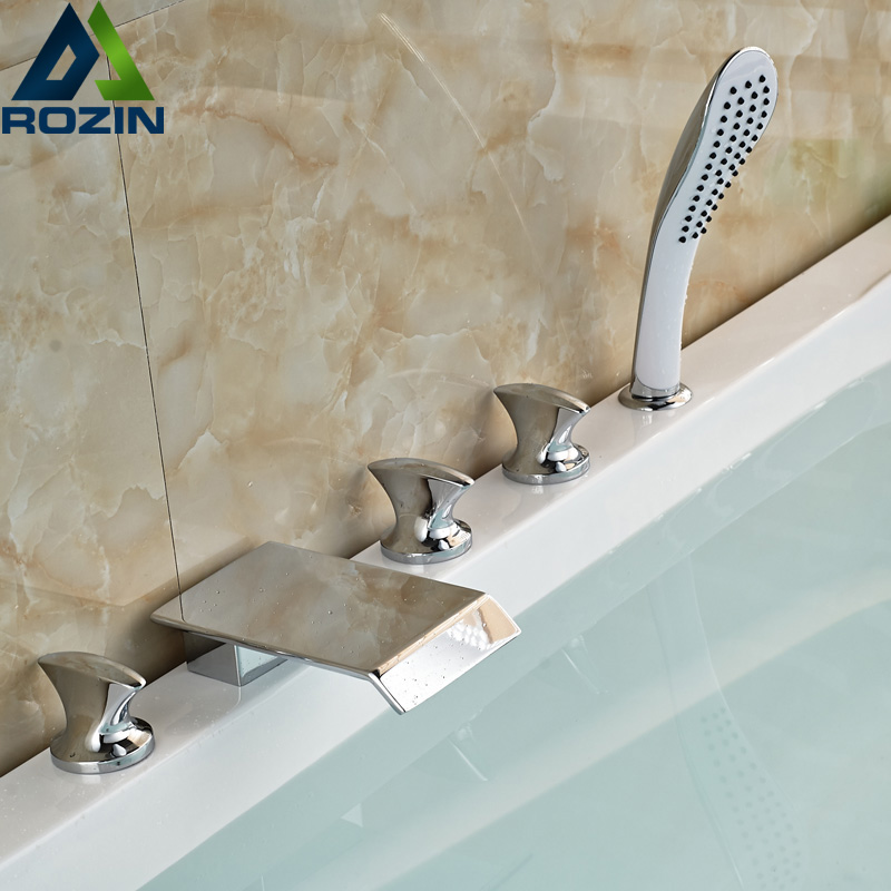 Newly Widespread 5pcs Bathroom Tub Faucet Deck Mount Waterfall Spout Tub Mixer Taps Chrome Finished
