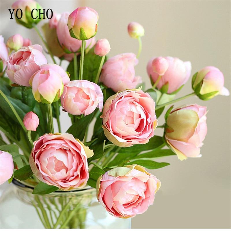 YO CHO Pink Peony Silk Wedding Flower Bridesmaid Tea Rose Artificial Flowers Garland Wall Home Decor 4 Fake Heads