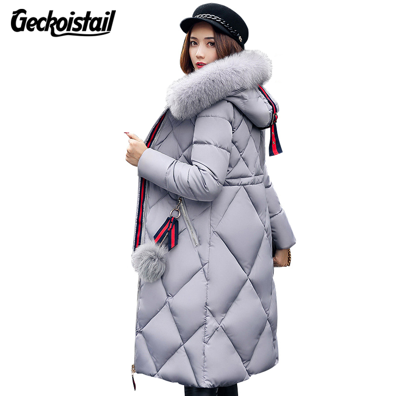 Geckoistail Winter Fashion Womans Wadded Jacket Parkas Fur Collar Hooded Down Cotton Slim Warm Jacket Coat Woman Parka Outerwear
