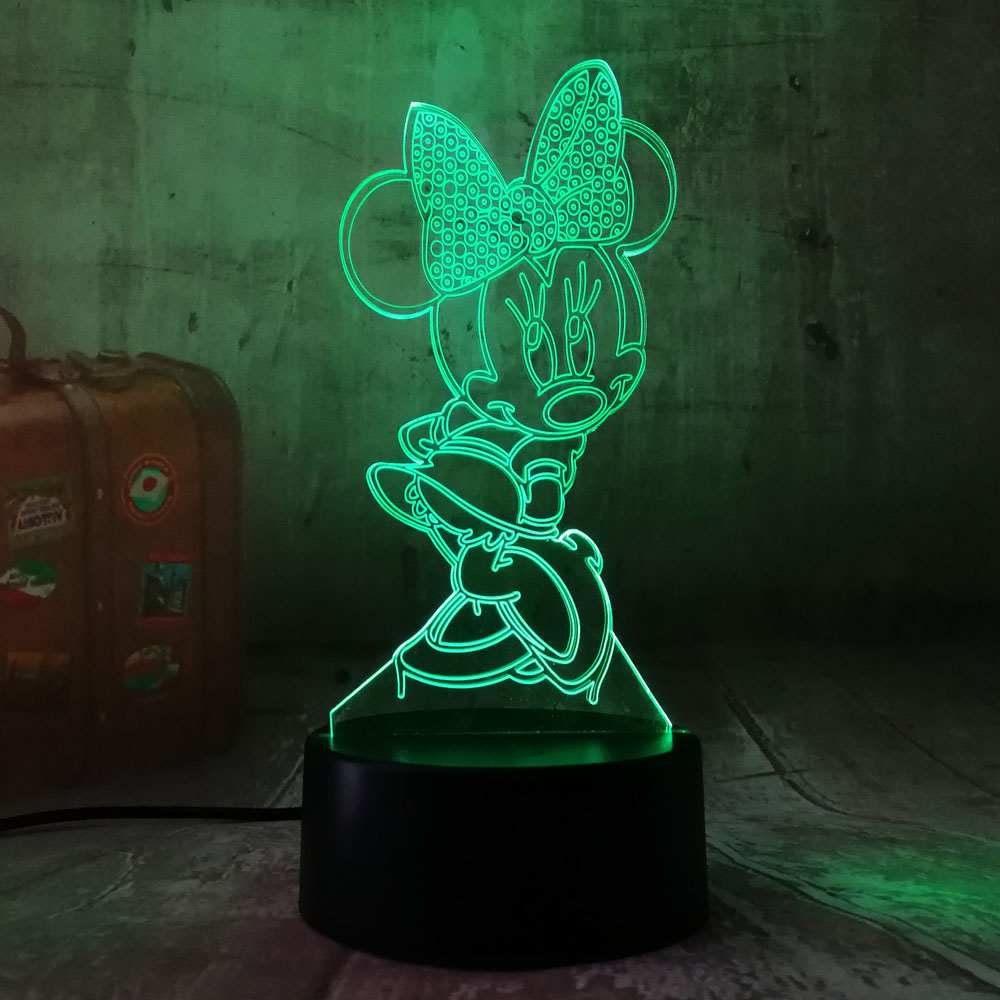 3D Cartoon Minnie Mouse LED RGB Night Light 7 Color Change Desk Table USB Lamp for Child Kids Christmas Gift Novelty Home Decor novelty 3d minions night light led table lamp touch desk lighting colorful for child baby gift birthday party bedroom home decor