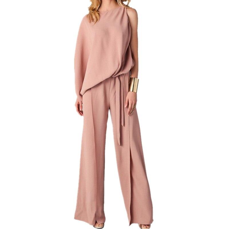 622f780bdfe Fashion One-shoulder Long Sleeve Jumpsuit Plus Size 3XL Women Waist Loose  Long Jumpsuit One-piece Pants Overalls w/ Sashes