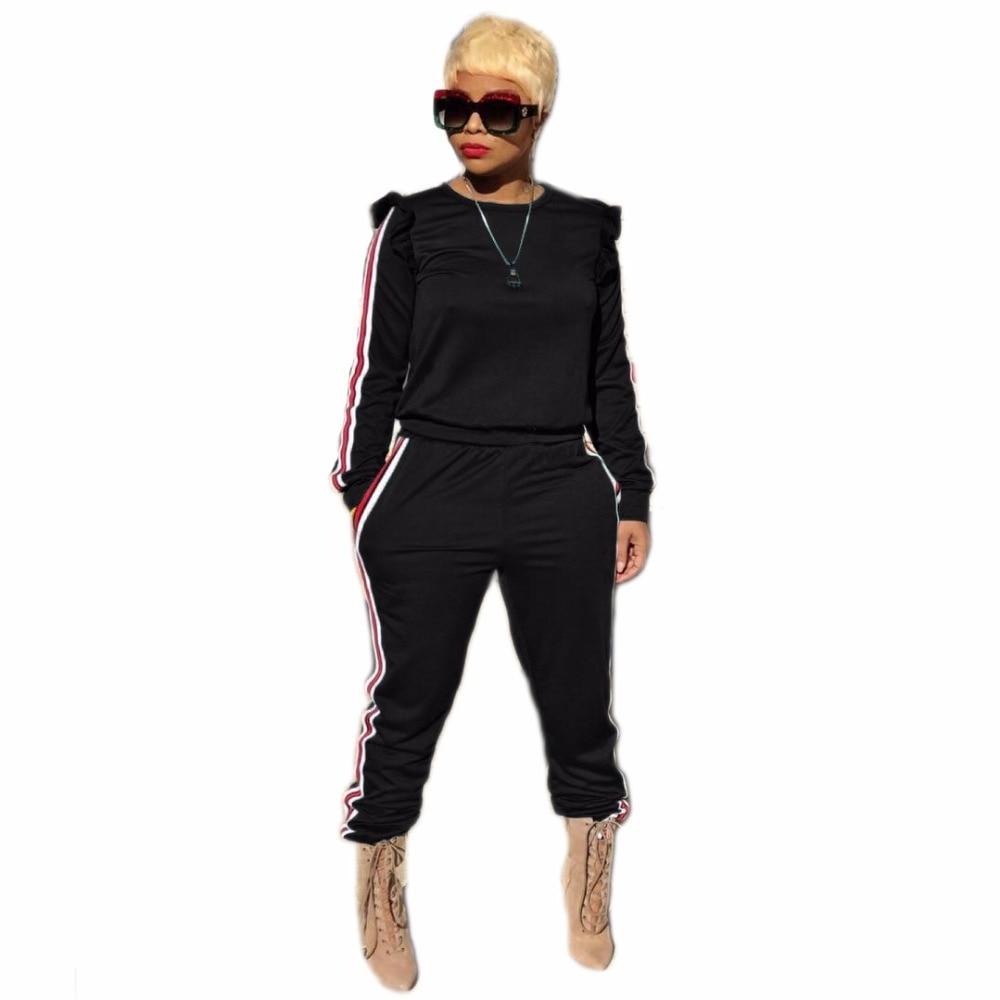 women tracksuit 2017 Casual striped black o neck crop top and Pants Jumpsuits pocket 2 Piece Suit Set Outfits ensemble femme H11