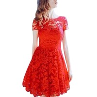 2017 Fashion New Summer Women Floral Lace Dress Short Sleeve O Neck Casual Plus Size Party