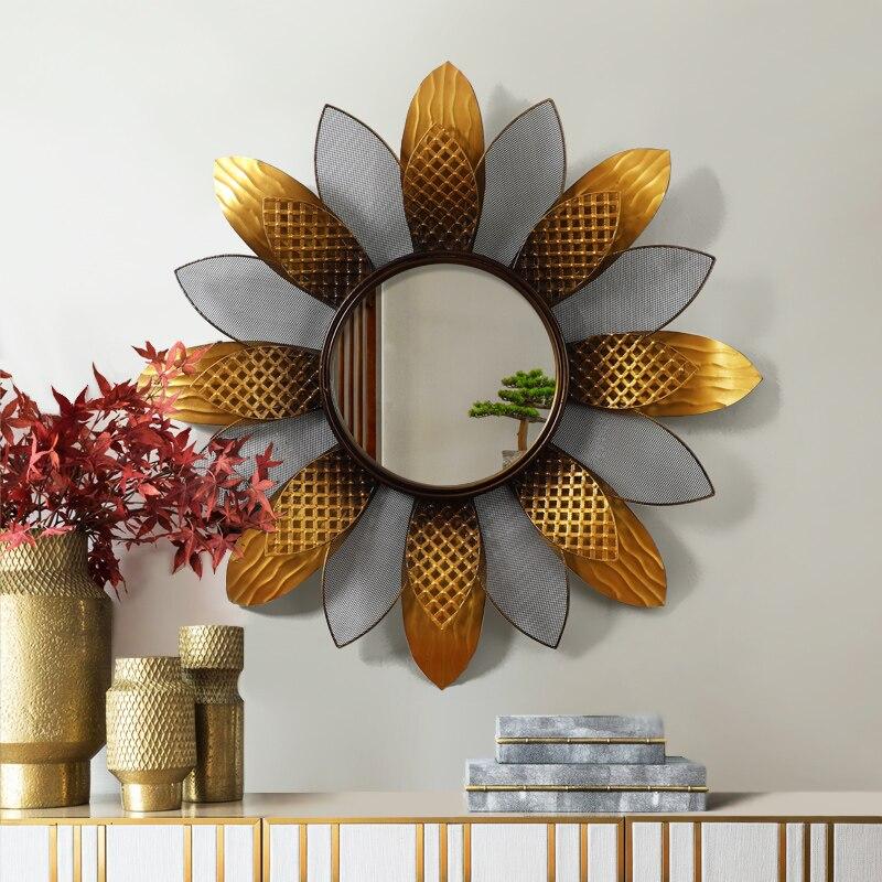 Moderne en fer forgé tournesol décoratif miroir mur ornements hôtel tenture murale décoration artisanat salon mur autocollant Art
