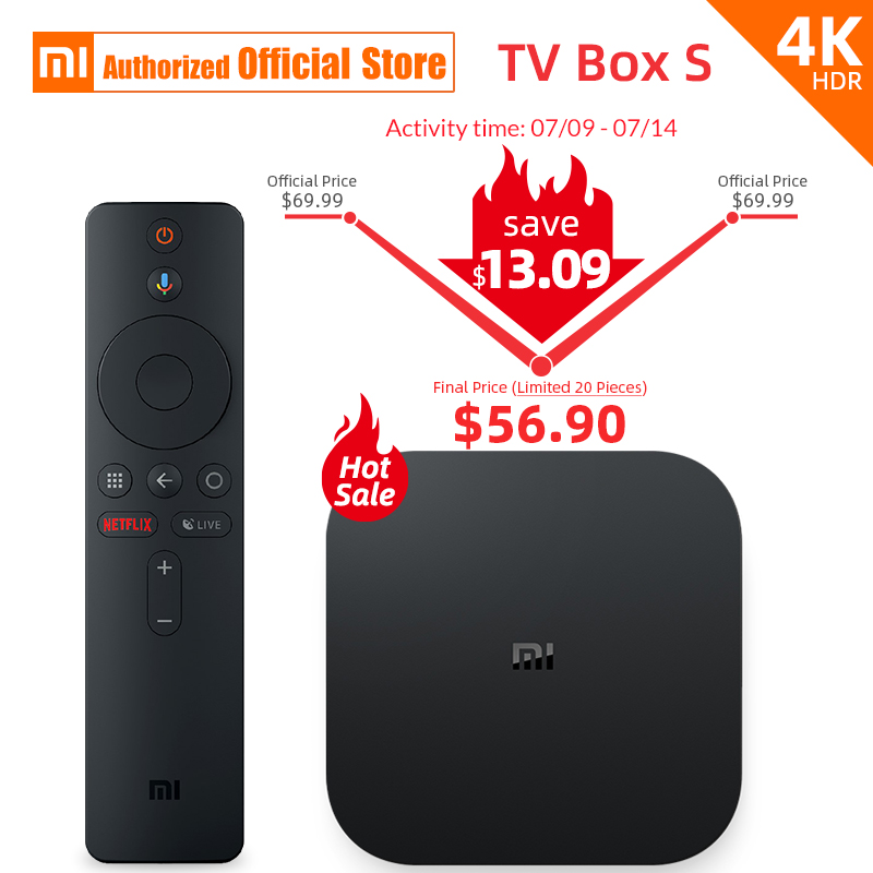 Global Version Xiaomi Mi TV Box 4K HDR Android Streaming Media Player Google Remote