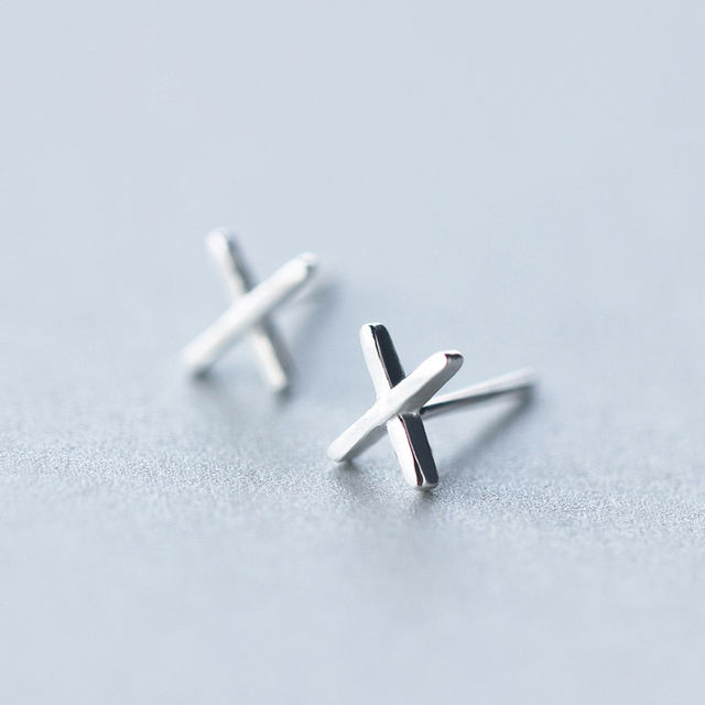 2018 100 925 Sterling Silver Jewelry Fashion Cute Tiny 6mmx5mm Letter X Stud Earrings Gift