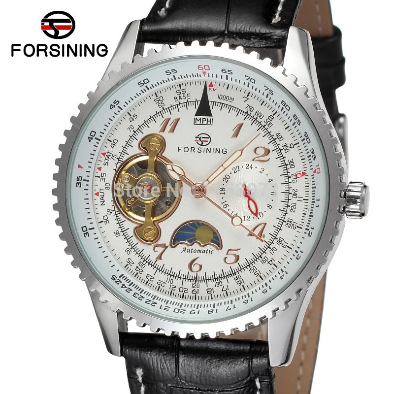FSG034M3S1 whole sale ! new men Automatic luxury watch with moon phase black genuine leather strap gift box free shipping цена