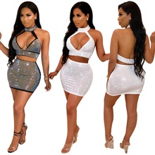 Summer Two Piece Set Sexy Diamond 2 Piece Set Women Hollow Out Crop Top And Skirt Set Matching Sets Backless Two Pieces Outfits newasia sexy two piece set 2 piece set women two piece outfits crop top and skirt set bodycon matching sets summer clothes 2019