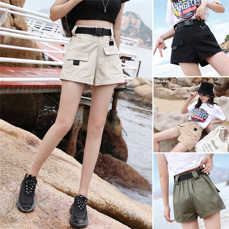Women Summer Cargo Cotton Overalls Shorts Casual Multi-pockets Trouser 4 Colors