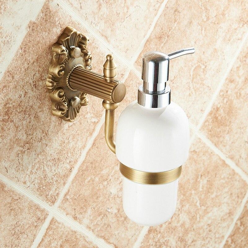 All copper antique European manual soap dispenser liquid soap box Hotel bath kitchen natural aluminum soap dispenser LO522311 цены