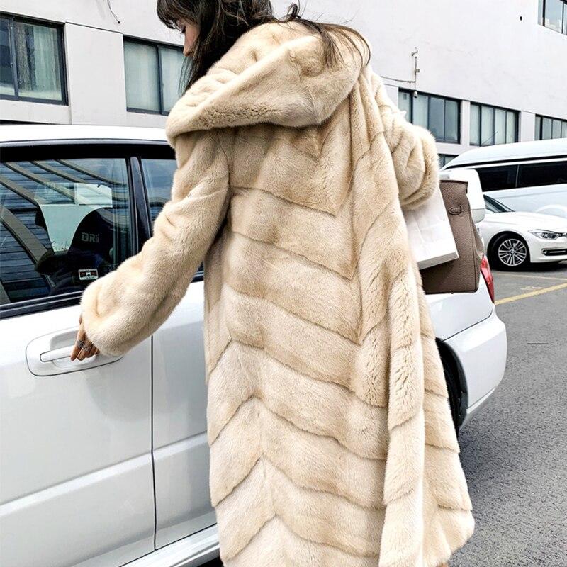 Manteau Avec D'hiver Kaki Manteaux Y Fourrure long Femmes M X Col De Vison Chaud Violet Rayé Velours 2019 Importé Fansty 7vqng1S