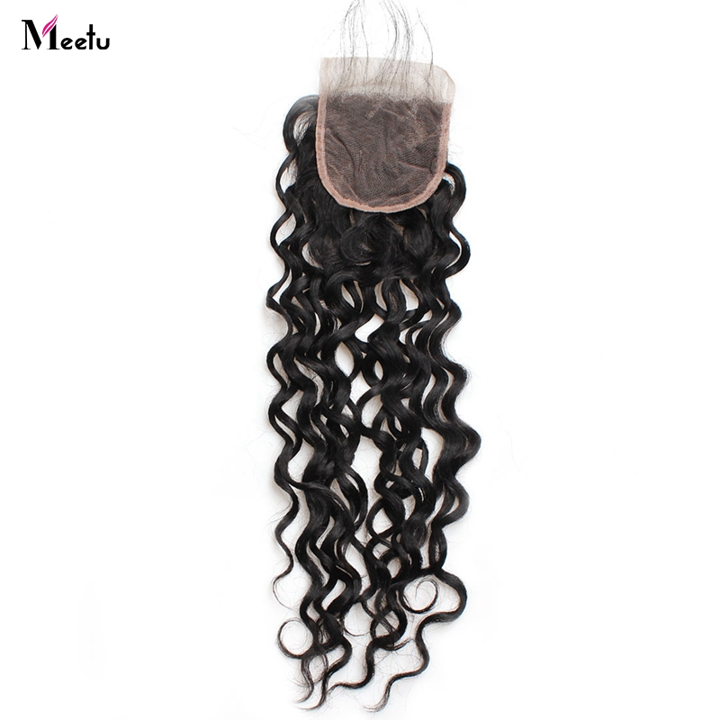 Meetu Indian Water Wave Lace Closure With Baby Hair 100% Non Remy Human Hair 4x4 Inch Swiss Lace Closure 130% Density 1 PC Only