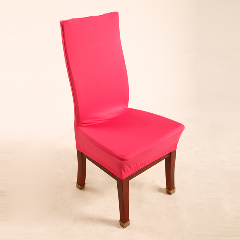 Rose Red Polyester Spandex Dining Chair Covers For Wedding