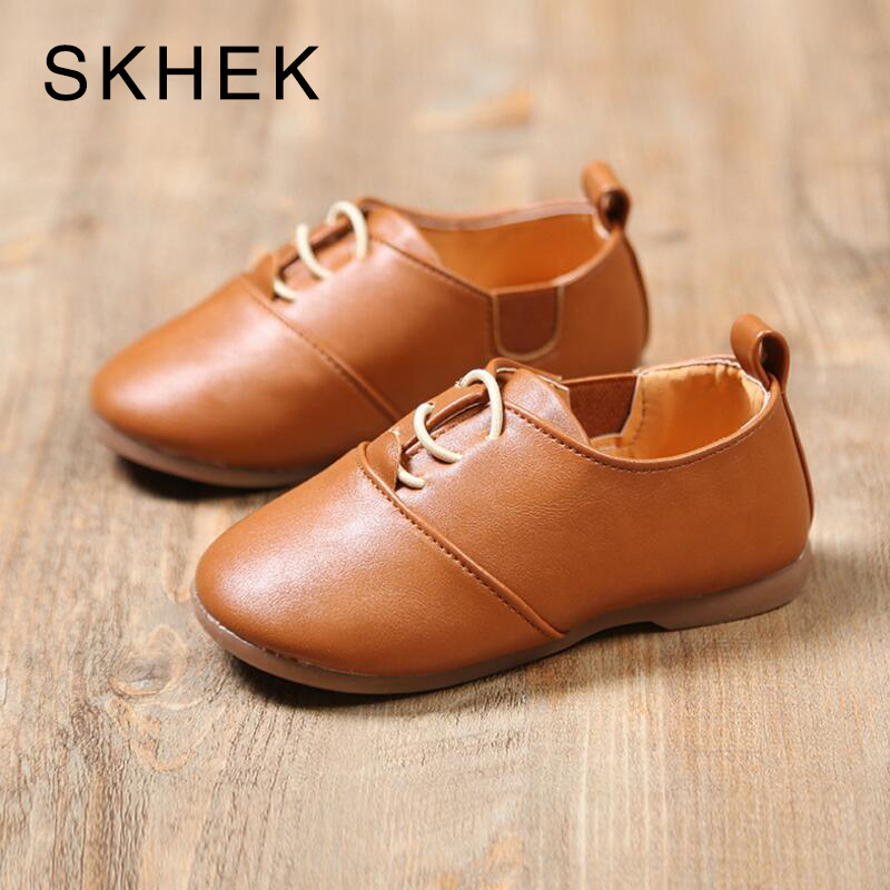 SKHEK Children Shoes Boys Rubber soles Genuine PU Leather Shoes Fashion Casual Stylish For Kids Boys Sneaker