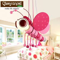 Qiseyuncai Modern children's room cartoon little bee chandelier creativity personality lovely pink blue study bedroom lamps