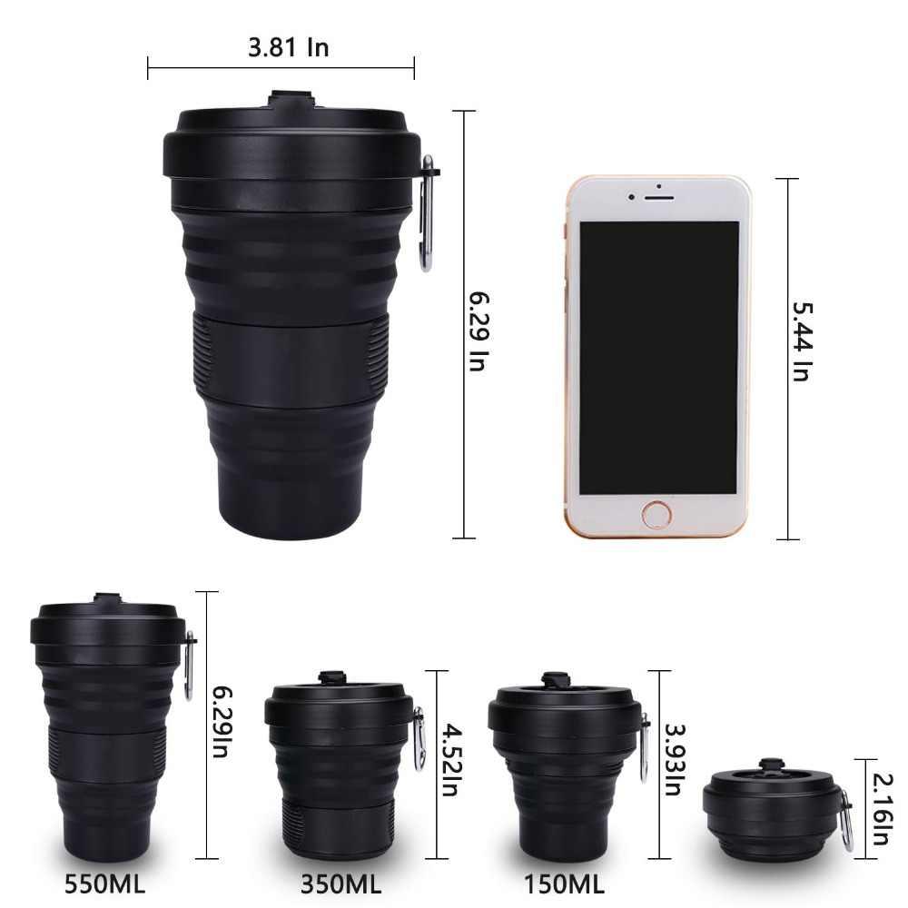 Taza de café plegable con tapas 550ml a prueba de fugas BPA gratis Eco reutilizable taza de café portátil botella de agua taza de viaje todo negro