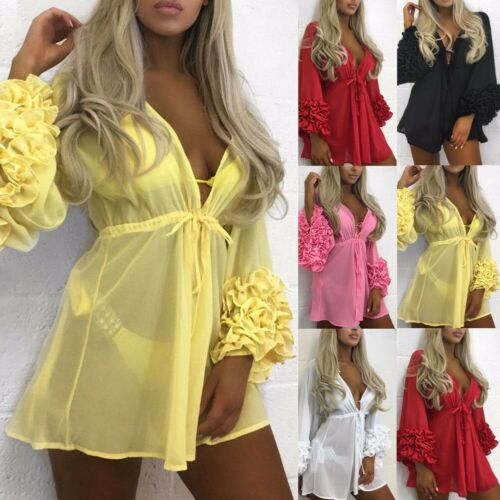Summer Women Swimsuit Bikini Cover Up Kaftan Sarong Sexy Beach Cover Ups Chiffon Dress Elegant Solid Beach Bathing Suit Tunic