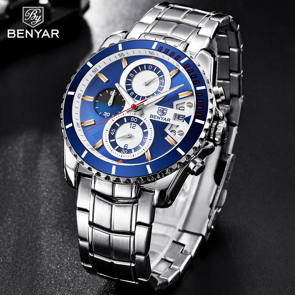 New BENYAR Top brand men's fashion luxury watch stainless steel analog quartz watch waterproof business sport wrist watches men