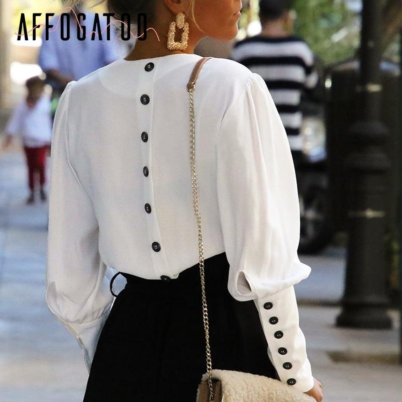 Affogatoo Puff sleeve women blouse shirt Button white v neck tops spring 2019 Elegant office lady streetwear blusas women shirts белая рубашка с объемными рукавами и вырезом