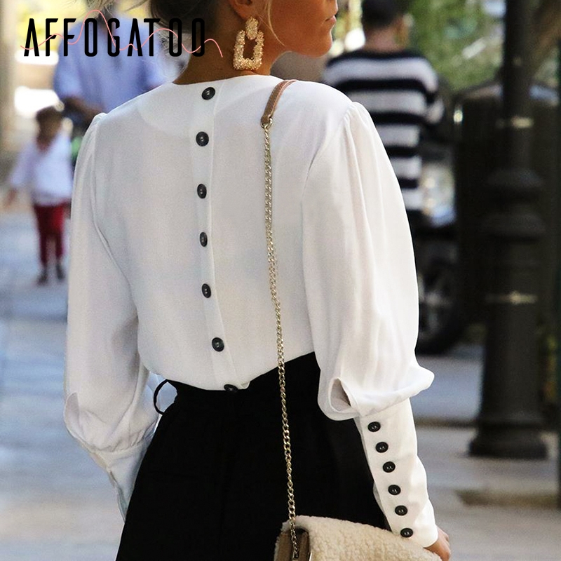 Affogatoo Puff sleeve women blouse shirt Button white v neck tops spring 2019 Elegant office lady streetwear blusas women shirts