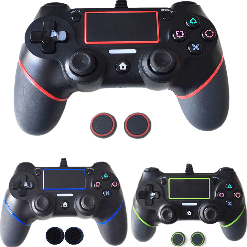 PS4 USB Wired Controller for Sony PS4 Playstation 4 Dualshock 4 Joystick Gamepads Gaming with 1.8M Cable Updated Version Gifts 1pcs black wireless game gaming bluetooth chatpad message keyboard for sony for playstation 4 for ps4 controller with usb cable