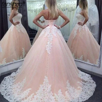 2019 Vintage Quinceanera Ball Gown Dresses Pink White Lace Appliques Tulle Long Sweet 16 Plus Size Party Prom Evening Gowns