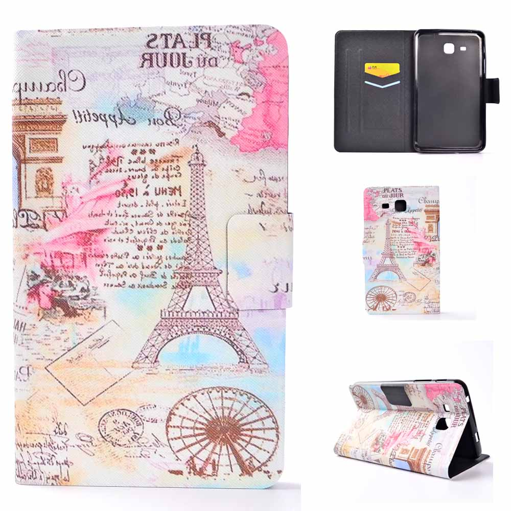 Smart Cover for Samsung Galaxy Tab A 7.0 SM-T280 SM-T285 New Print Folio Books Cover Case Soft TPU Skin Sleep Wake up Function