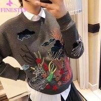Бренд Высокое качество толстовки для женщин 2019 Зимняя мода пуловеры для с длинным рукавом кофты цветочным принтом пуловер