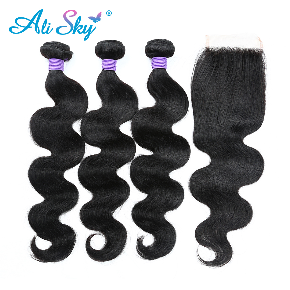 Malaysian Body Wave 3 bundles håndtere 4x4 Top Lace Closure Free / - Menneskelig hår (for svart)