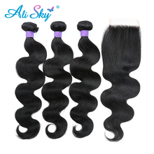 Malaysiska Body Wave 3 bundles hanterar 4x4 Top Lace Closure Free / Middle / Three Part [Ali Sky] Hårvävning Non Remy natur svart