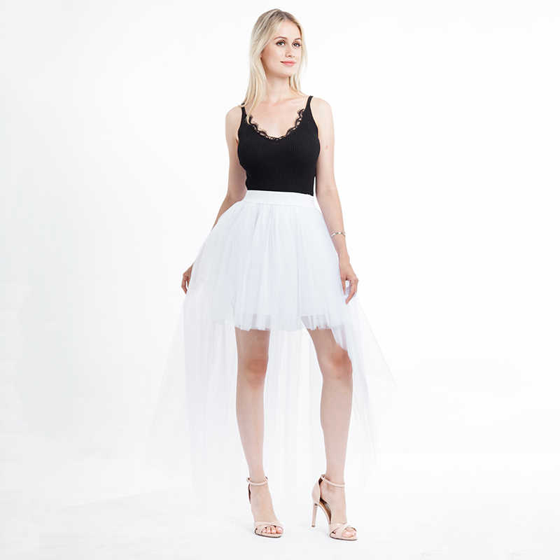 a7c5ff730 ... woman fashion 2019 korean summer asymmetrical tulle skirt high waist  transparent sexy skirt solid midi tutu ...