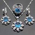 Conjuntos de Jóias Para As Mulheres de Cor prata Light Blue Crystal White Cubic Zirconia Colar Pingente Brincos Anéis Caixa de Presente Livre