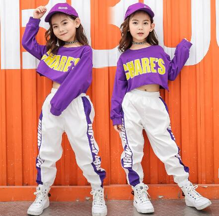 2018 New Hip Hop Girls Clothing 2pcs Teenage Girls Crop Long Sleeve Tops + Pants Sets Kids Street Dance Clothes Child Streetwear недорго, оригинальная цена