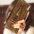 Роскошный 100% Натуральный Натуральная Кожа Бренд Женщин Бумажники Долго Крокодил 3D кошелек оптовая моды кожаные Сумки Сцепления 2017 Новый