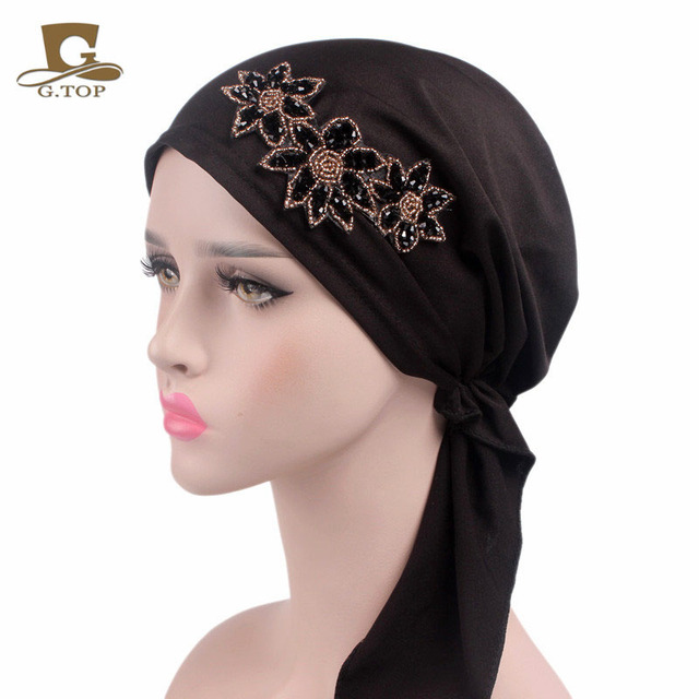 New Fashion Beaded Flower Stretchy Pre-Tied Head Scarf Head Wrap Scarves Chemo  Cap Women 4045242cf959