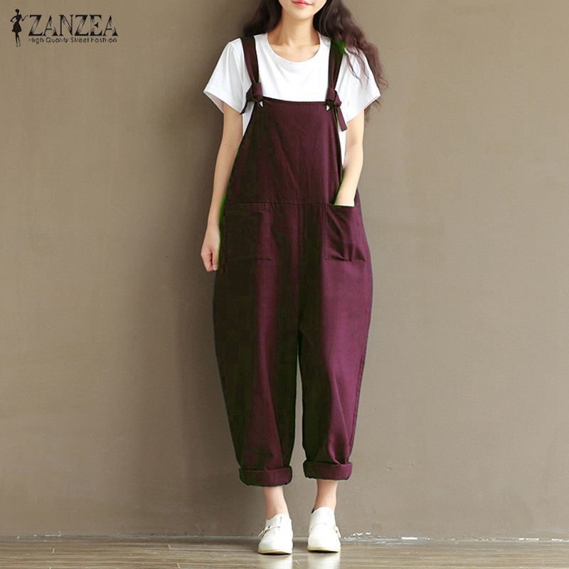 Women's Clothing ... Jumpsuits, Playsuits & Bodysuits ... 32712863022 ... 3 ... 2019 ZANZEA Rompers Womens Jumpsuits Casual Vintage Sleeveless Backless Casual Loose Solid Overalls Strapless Paysuits Plus Size ...