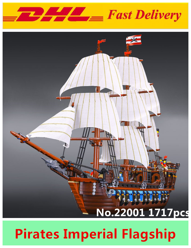 NEW LEPIN 22001 1717pcs  Pirate Ship Imperial warships Model Building Kits Block Briks Toys for children Gifts Compatible 10210 lepin 22001 imperial warships 16006 black pearl ship model building blocks for children pirates series toys clone 10210 4184