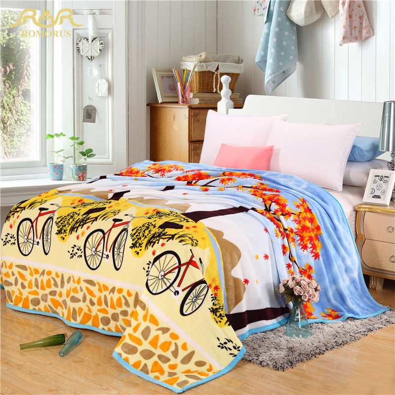 Bicycle Scenery Coral Fleece Thin Blankets on the Bed Twin Full Queen King Size Soft Bed Sheet Sofa Plane Blanket 260gsm