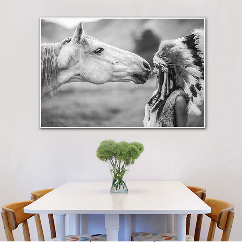 Us 2 39 20 Off Canvas Painting Horse Poster Black And White Animals Love Wall Pictures For Living Room Wall Art Home Decor Cuadros Decoracion In
