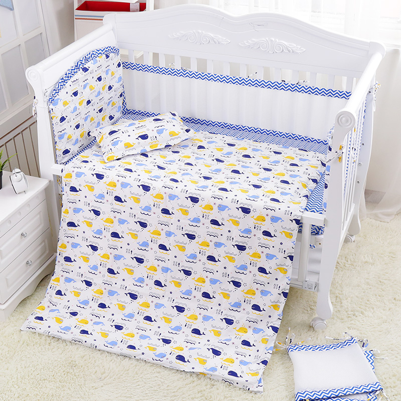 7 Pcs Fresh Blue Sea World Baby Crib Bedding Set Summer Baby Cot Linens Nursing Mesh Bumpers Cotton Sheet Quilt Pillow+Filler 7 pcs fresh blue sea world baby crib bedding set summer baby cot linens nursing mesh bumpers cotton sheet quilt pillow filler