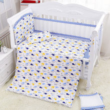 7 Pcs Fresh Blue Sea World Baby Crib Bedding Set Summer Baby Cot Linens Nursing Mesh Bumpers Cotton Sheet Quilt Pillow+Filler(China)