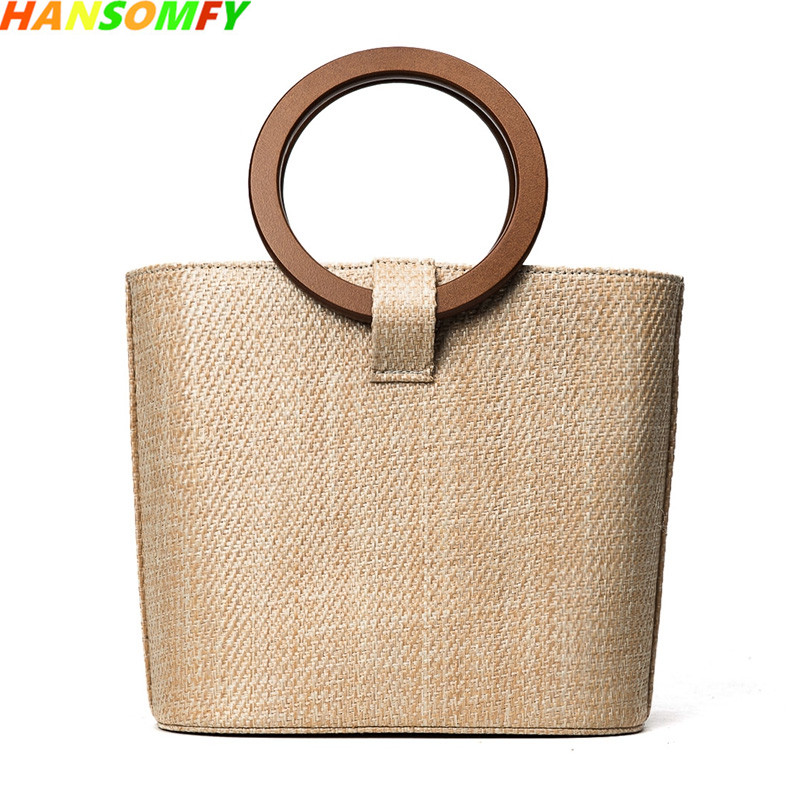Summer Women straw bags beach ring bucket grass bag weaving handbags 2018 female new Wooden handle