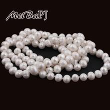 [MeiBaPJ] 9-10mm Tamaño Agradable Encanto Real de Agua Dulce Collar de Perlas para las mujeres 120 cm Suéter largo blanco cadena de Joyería de Moda
