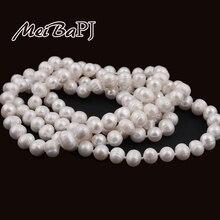 [Yinfeng] 9-10mm Tamaño Agradable Encanto Real de Agua Dulce Collar de Perlas para las mujeres 120 cm Suéter largo blanco cadena de Joyería de Moda