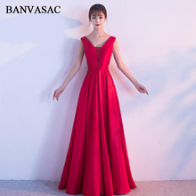 BANVASAC 2018 V Neck Lace Appliques A Line Long Evening Dresses Elegant Party Sash Crystal Backless Prom Gowns