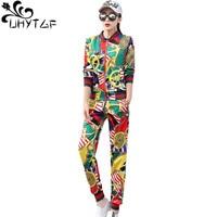 UHYTGF Fashion print spring summer sets womens Casual trousers Sports three piece sets Long sleeve + t shirt top set female 1414