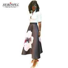 SEBOWEL Elegant Flower Print High Waist Maxi Long Skirt Women Casual Retro Blossoming A Line Skirts Floral Ptinted Skater Skirt